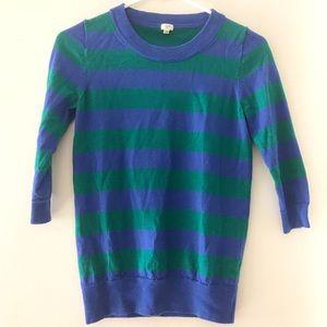 J. Crew Striped Merino Wool Sweater 3/4 Sleeve XS